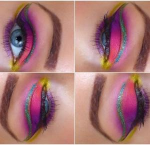 Kolorowe Cut Crease - Urban Decay   Glam Crystals - Ela Lis Make-Up