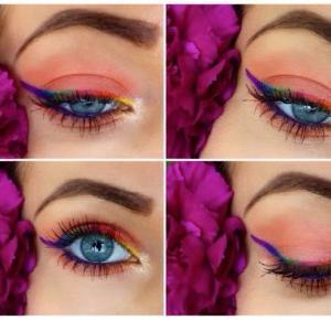 Łososiowy Makeup z tęczową kreska - Ela Lis Make-Up