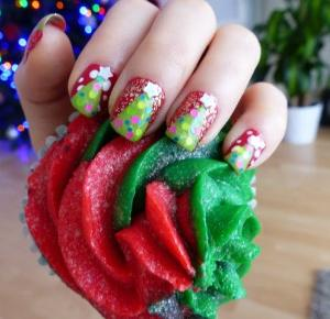 Xmas nails - świąteczne choineczki - lisabella-ela