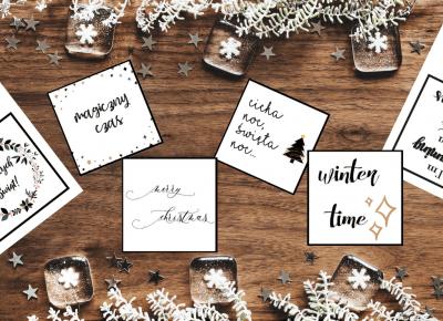 \Typograficzne karty do zdjęć typu flat lay w świąteczno-zimowym klimacie