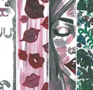a little CUP OF ART : Do druku: 4 ręcznie malowane zakładki do książek