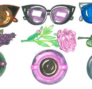 a little CUP OF ART : sunglasses, flowers