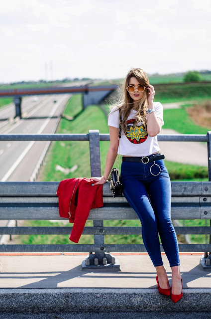 The world is my runway.: High waist jeans & top