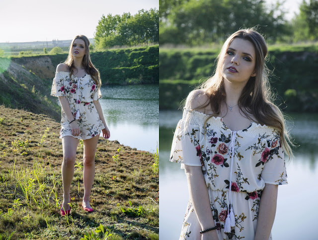 The world is my runway.: Off The Shoulder Chiffon Floral Romper