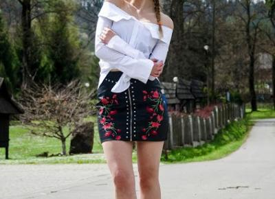 The world is my runway.: Slav (floral print leather skirt)