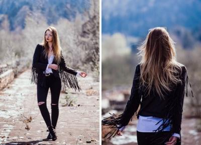 The world is my runway.: Jacket with fringed