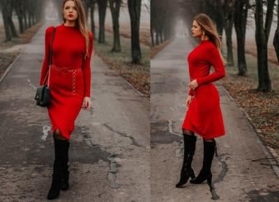 The world is my runway.: Sweater red dress