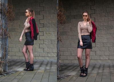 The world is my runway.: Bomber & leather skirt