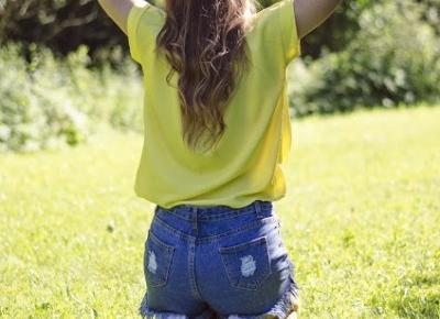 The world is my runway.: Yellow blouse & high waist shorts