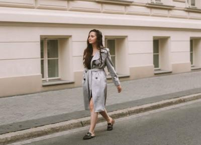 GRAY TRENCH COAT AND BLACK SLIP DRESS - MALIOCE l Alicja Moskalik