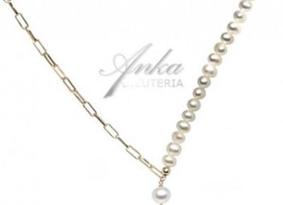 Naszyjnik srebrny pozłacany z perłami