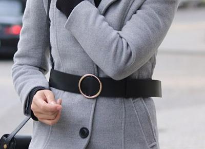 Szary, długi płaszcz