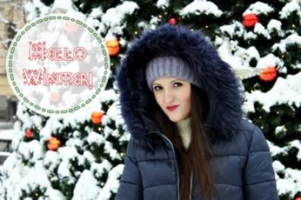 Zimowa stylizacja w odcieniach granatu i brązu - Moda na strychu