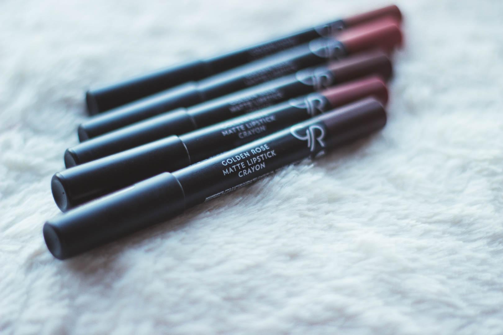 Golden Rose Matte Cryons Lipsticks • swatche i recenzja - photo • beauty • more