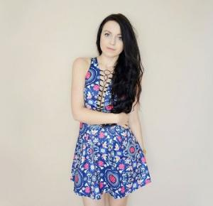 Kakaao: Lace up floral dress