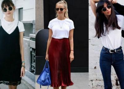 Pomysły na stylizację z białym T-shirtem!
