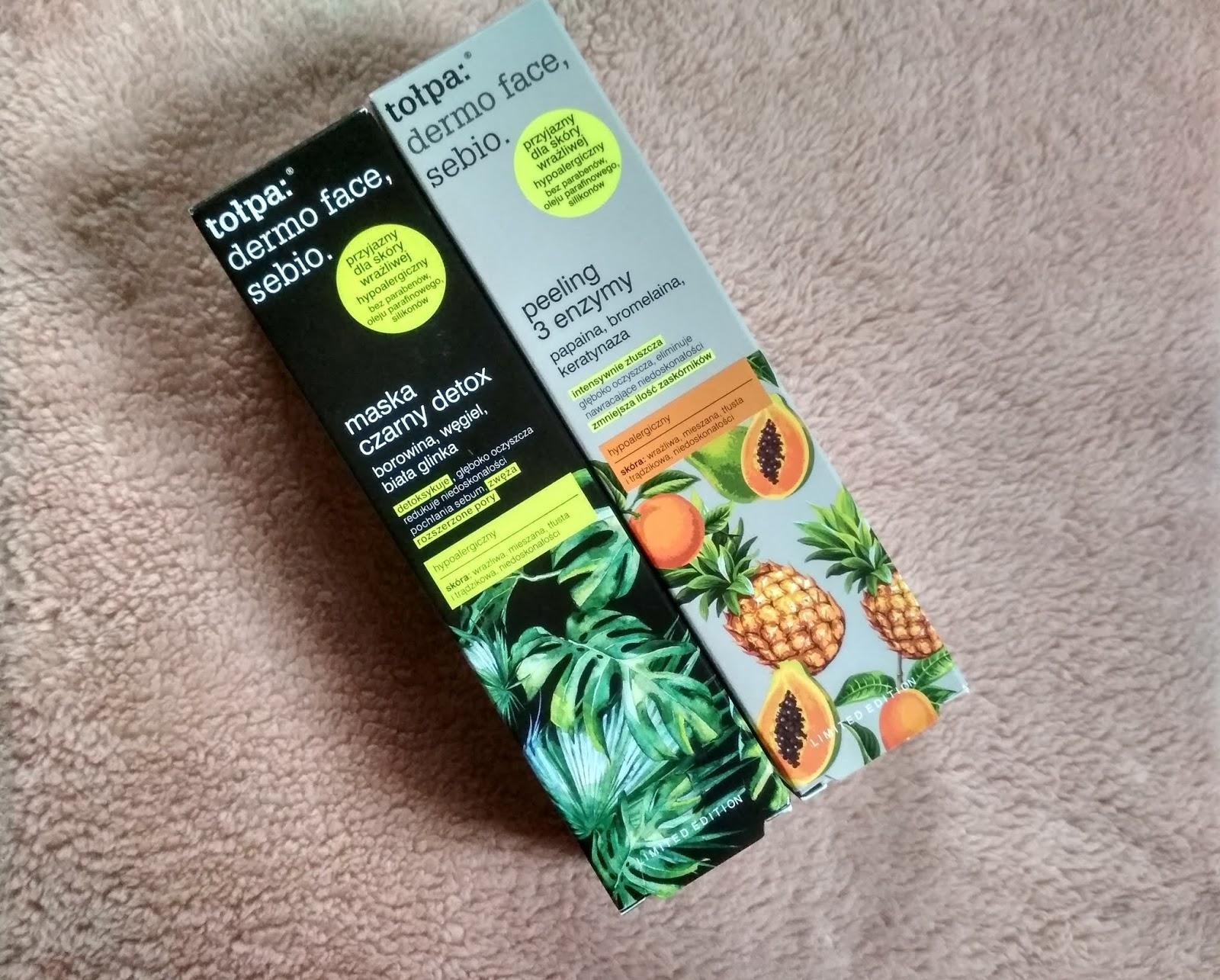Recenzja - Tołpa Dermo Face, sebio peeling 3 enzymy i maska czarny detox | N. o kosmetykach