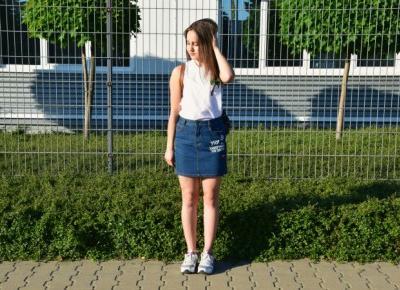 Nati jest fit!: Jeansowa spódniczka i plecak vintage