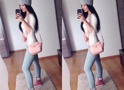 """Justyna 🎀 on Instagram: """"dzień dobry kochani 💖💖💖 piękne czapeczki znajdziecie u @ebutikpl 💖 traperki: @ebutikpl 💖 torebka: @gamiss_official 💖  #me #polishgirl #girl…"""""""