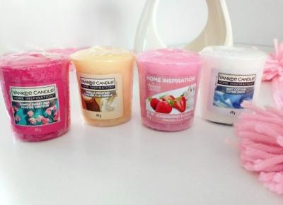 pastelowyblog.pl: Yankee Candle, Home Inspirations, samplery - simply sweet pea, vanilla frosting, strawberry & cream, soft cotton