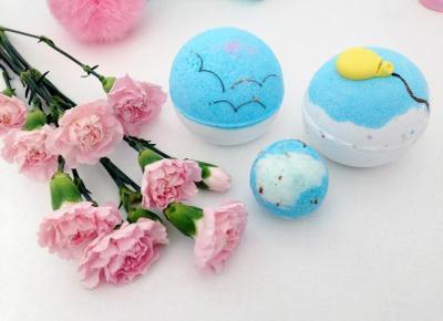 pastelowyblog.pl: Bomb Cosmetics, zestaw Ku Niebu - kule, babeczka do kąpieli i mydło glicerynowe