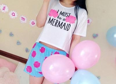"Justyna 🎀 on Instagram: ""miłego wieczoru kochani 😊🌸💖 cute pajama set from @boohoo 😍💞💙 #boohoo #myboohoostyle #pajama #pajamaset #mermaid #style #pinkandblue…"""