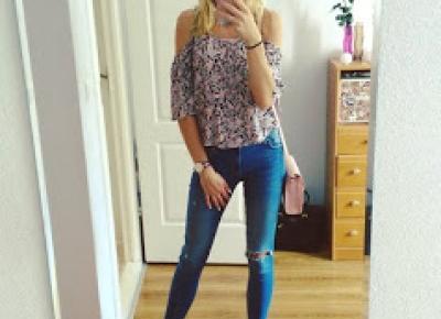 patricia: Wysokie buty + bluzka bez ramion