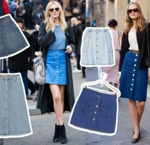 Hi Pati : Denim skirt with buttons