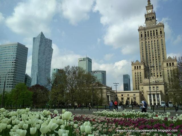 Pałac Kultury i Nauki w Warszawie i jego najbliższa okolica w wiosennej aurze [Palace of Culture and Science in Warsaw and its surroundings