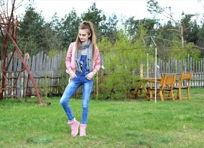 PINK BOMBER JACKET + DENIM OVERALL