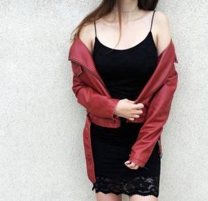 W: Red jacket