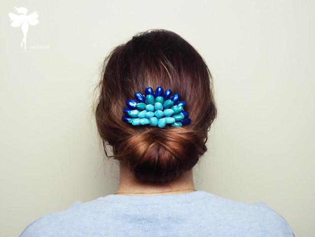 ważkowa: Ozdobny grzebyk do włosów z łupinek pistacji