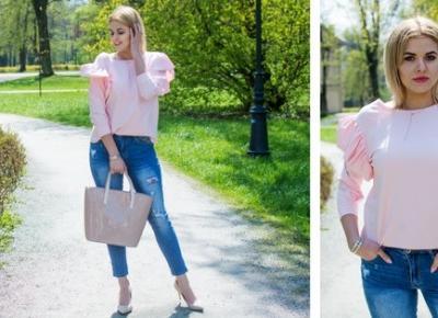 Pudrowa bluzeczka z falbanami przy rękawach- wiosenny look!