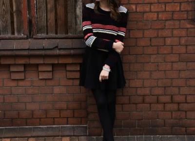 jumper, skirt and knitted nails