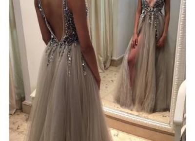 Deep-V-neck Crystals Tulle Open-Back Front-Slit Beadings Sexy Prom Dresses- Newarrivaldress.com