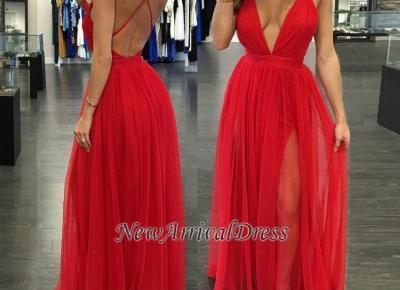 Straps Split Backless Red V-neck Sexy Deep Long Evening Gowns- Newarrivaldress.com