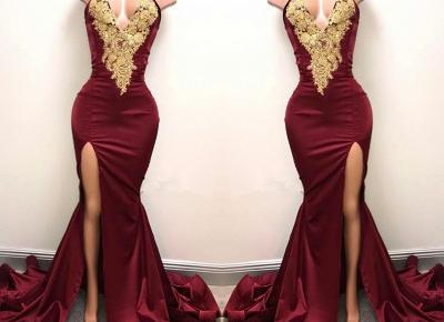 Front-Split High-Neck Mermaid Burgundy Sexy Lace-Appliques Prom Dress - Newarrivaldress.com