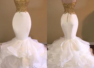 Mermaid Spaghetti-Strap Lace-Appliques Sleeveless Ruffles Sexy Prom Dress__Newarrivaldress.com