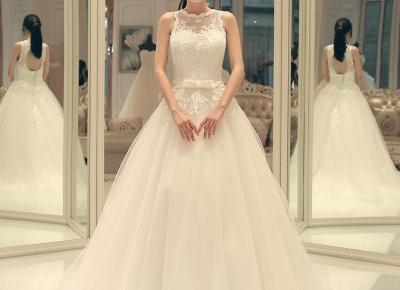Lace-up Elegant A-line Sleeveless Bow Sweep-train Wedding Dress- Newarrivaldress.com