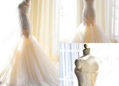 Gorgeous Lace-Appliques Tulle Mermaid Sweetheart Wedding Dress- Newarrivaldress.com