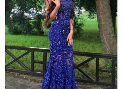 Mermaid Beads Gorgeous Royal-Blue Sleeveless Lace-Appliques Prom Dress_Prom Dresses 2017_Prom Dresses_Special Occasion Dresses_Buy High Quality Dresses from Dress Factory - Newarrivaldress.com