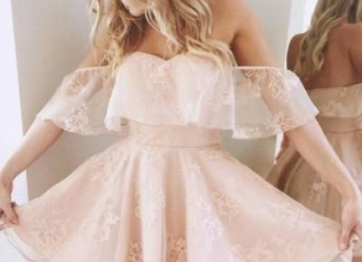 Peach Sexy Party Lace Short Off-Shoulder Cocktail Dresses - Newarrivaldress.com