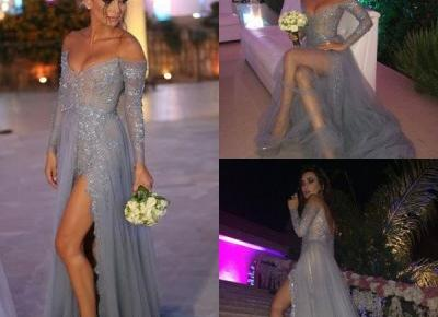 Sexy Off-the-Shoulder Tulle Evening Dresses Side-Slit 2017 Prom Gowns with Beadings_Evening Dresses 2017_Evening Dresses_Special Occasion Dresses_Buy High Quality Dresses from Dress Factory - Newarriv