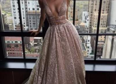 Shiny Long Deep-V-Neck Silver Backless A-line Prom Dresses