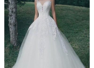Tulle A-Line Appliques Sleeveless Glamorous Wedding Dress- Newarrivaldress.com