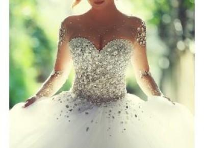 Sweetheart Crystals Ball Gown Wedding Dresses Sheer Long Sleeves Lace-up Princess Chapel Train Wedding Gowns_Wedding Dresses 2017_Wedding Dresses_Buy High Quality Dresses from Dress Factory - Newarriv