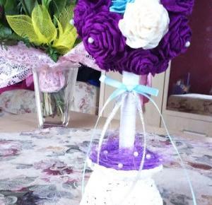 Uszyj to - rękodzieło DIY handmade: Drzewko różane, z róż z crepy (krepiny) włoskiej   instrukcja krok po kroku jak zrobić różę z crepy krepy włoskiej, bibuły.