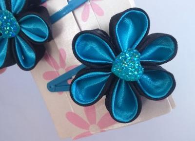 Studio ribbons: Zamówienie nr 3 - niebiesko-czarne kwiaty