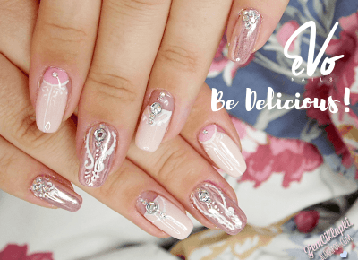 Ślubny manicure z różowym złotem i Be Delicious! EvoNails + top i baza - ZjemCiKlapki nails