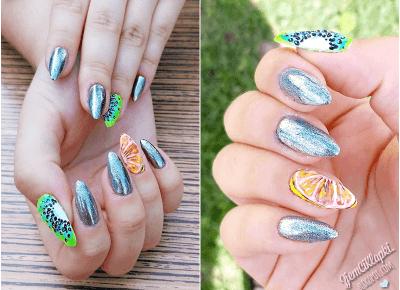 Owocowe paznokcie ze srebrnym MetalManix Indigo - ZjemCiKlapki nails